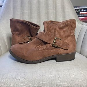 Tan faux suede Moto style bootie